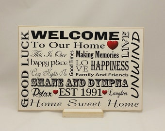 Handmade Gift for Family, Housewarming Gift, Gift for Newly Weds, Personalized Gift, Shabby Chic, Typography Printed Wooden Sign, B078