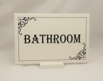 Bathroom Sign, Large Restroom Sign, Wooden Plaque, Handmade, Elegant Off White Hand-Painted Vintage Shabby Chic Lavatory Door Sign A4 282