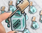 Nail Polish Iron On Patch | Embroidered Applique | Fancy Lady - Mani - Aqua