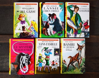 1956 Hachette Children's Book Collection - Set of 6 Hardcover Books- French Language - Printed in France