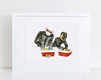 Daft Punk Art Print - Vintage Fisher Price Record Player Art Print - Original Art Print