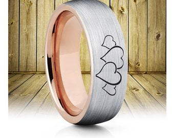 Ladies Heart Rose Gold Tungsten Wedding Band,Rose Gold Tungsten Wedding Ring,Anniversary Band,Comfort Fit,Unique Brushed Tungsten,18k Rose