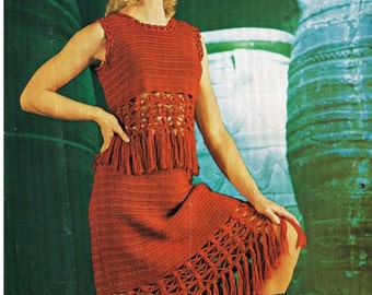 Crochet Dress Pattern Vintage 70s Crochet Top Pattern Crochet Skirt Pattern Crochet Hippie Dress Pattern  Crochet womans dress pattern