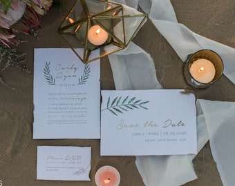 Greenery Wedding Invitation Set | Modern Wedding | Bohemian Wedding | Greek Wedding | Beach Wedding | Boho Wedding | Printable