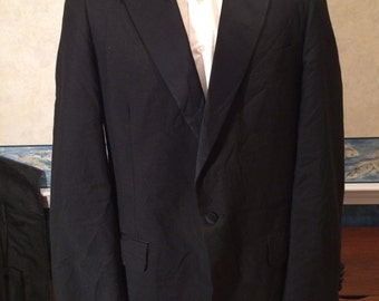 Vintage Tuxedo Jacket - Mens Black Tuxedo with Peak Lapels from Chritian Dior size 42L Medium
