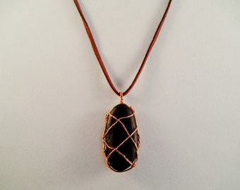 Copper Wire Wrapped Stone Necklace