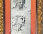 Sale 20% Off // Vintage Raffaello Sanzio (Raphael) Prints Framed Head Study Drawings Heads of Men // Coupon Code SALE20