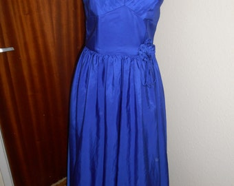 Vintage Retro Blue 1980s Party Prom Dress By Trina Lewis & Marjon Couture UK Size 14 16