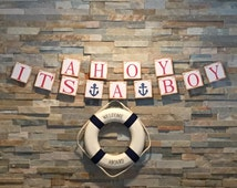 Ahoy Its A Boy Banner, Nautical Baby Shower, Its a Boy, Boy Baby Shower, Blue Anchor Banner, Nautical Nursery Decoration