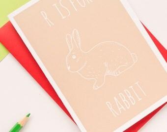 Rabbit Card. Animal Alphabet Card. 100% Recycled Card & Envelope
