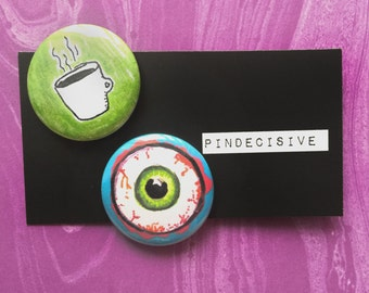 Sleepy - PartyPack - 1.25 inch Pinback Button Set of 2 - button, badge, pin, pin-back, bloodshot, eyeball, coffee, caffeine, addict, sleep