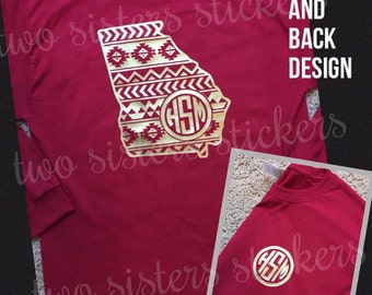 Aztec Georgia Monogrammed Shirt, Short Sleeve and Long Sleeve for YOUTH or ADULT