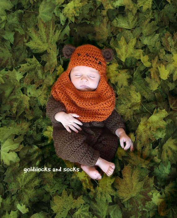 Ewok Inspired outfit, newborn star wars, crochet ewok hat, baby ewok costume, baby bear hat, star wars prop, newborn boy outfit, baby girl