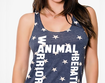 FTLA Apparel  Eco Jersey Stars Racerback Tank Top Animal Liberation Warrior | 4th of July  | Animal Liberation | Empty The Cages | Freedom