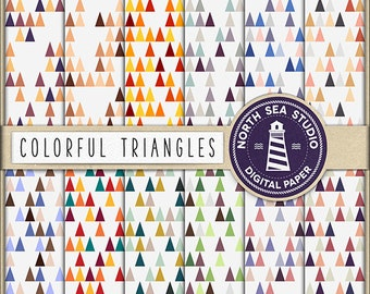 SYMMETRICAL WORLD, Triangle Digital Paper, Triangle Wallpaper, Scrapbook Paper, Geometric Pattern, Colorful Triangles, BUY5FOR8