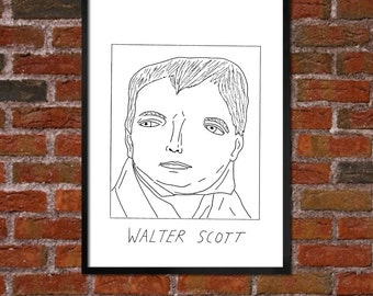 Badly Drawn Walter Scott - Literary Poster - *** BUY 4, GET A 5th FREE***