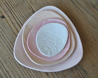 Set of 4 - Pink Pottery Plates, Doily stamped Handmade Serving Platter, Tapas Dishes, Side Dishes