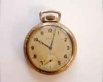 21 Jewels Swiss Made Vintage Pocket Watch Art Deco Gold Filled Case