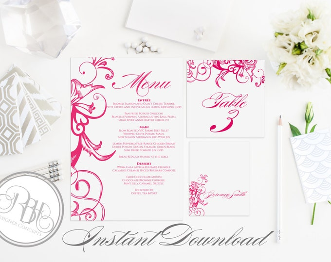 """Fuchsia Pink Table Number, Place Card, Menu INSTANT DOWNLOAD-DIY Editable Text-Fuchsia Pink Floral Swirl """"Helen in Fuchsia Table Package"""""""