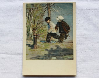 "Illustrator Dubinsky Vintage Soviet Postcard ""Distant Countries"" A. Gaidar - 1955. Izogiz Publ. Children, boys, winter, poor"
