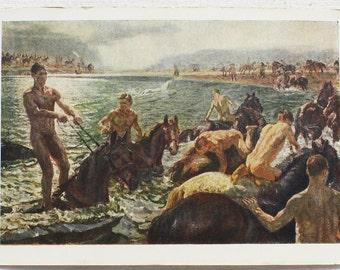 "Artist Plastov. Vintage Soviet Postcard ""Bathing of horses"" - 1964. Sovetskiy hudozhnik. Horses, People, Men, Water, River, Beach"