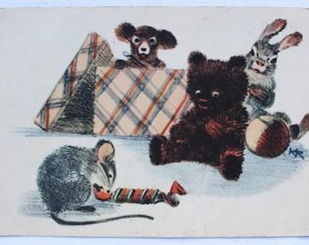 "Illustrator K. Kuznetsov. Vintage Soviet Postcard ""Mouse with candy"" - 1954. Izogiz. Bear, Hare, Puppy, Animals, Toys, Ball, Box, Sweets"