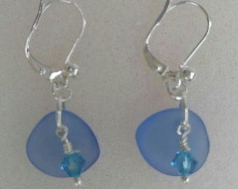 Small Sea Glass Earrings with Swarovski Crystal