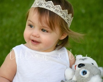 Queen Bee - Lace Crown headband for baby and girls. Newborn, Princess, First Birthday, Photo Prop. Choose your size