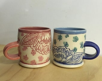 Floral Print Teacups - set of two - MADE TO ORDER