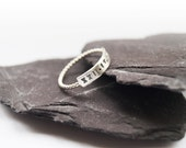 Sterling Silver Engraved Beaded Bar Ring ~ personalized, stamped, statement, personalised, roman numerals, wedding, initials, stamped