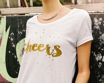 Cheers Women's Graphic Shirt, White, Gold, New Year's Day, Inspirational, Holiday, Gifts for Her