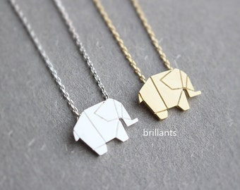 Origami Elephant necklace, Animal necklace, Bridesmaid jewelry, Layer, Everyday necklace, Wedding necklace