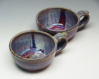 Set of 2 Soup Bowls, Soup Mugs, Soup Bowls, Purple Bowl, Pottery Bowl, Handmade Pottery, Stoneware Bowl, Ayers Pottery