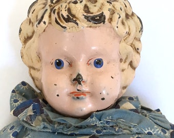 Antique Minerva tin head doll, metal head doll, blonde hair on old body