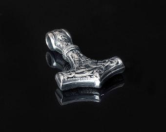 Deer Jump hammer, North Warrirors Sterling Silver Handmade Pendant, Thors Hammer, Mjolnir