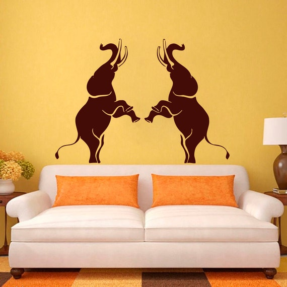 Elephant wall decals vinyl sticker children nursery by cozydecal - Elephant decor for living room ...