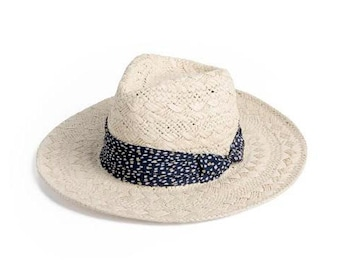 Panama hat , decorated with a stunning ribbon , Banded straw hat , Gift for her.