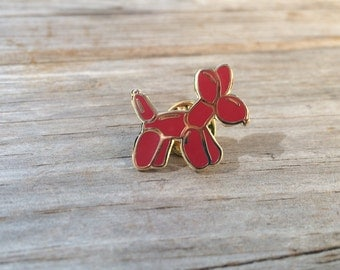 Red Balloon Dog Enamel Pin, Hard Enamel Pin, Brooch, Gold Pin, Lapel Pin, gifts for him