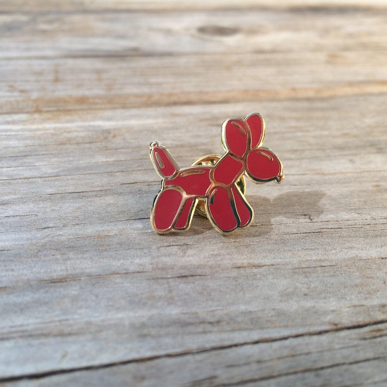 red balloon dog enamel pin hard enamel pin brooch gold pin