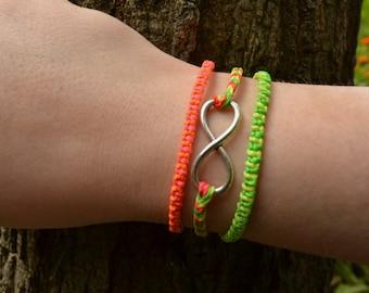 Set of 3 Acid Neon Friendship Bracelets, Hand-Made, Wholesale Bracelet Set, Infinity Bracelet, Charm, Christmas Gift, Stocking Filler