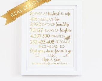 Gold Foil Print, Eight 8 Year Anniversary Gift, 8th Anniversary, For Husband or Wife, Customizable, Personable, Real Gold Foil