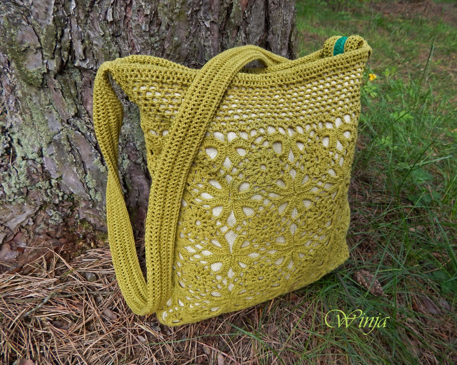 Crochet bag knitted bag textile bag cotton bag by OnGoodLuck