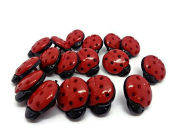 20 ladybird buttons, beetle buttons, ladybug buttons, red black buttons, sewing buttons, novelty buttons, cardmaking supplies, uk buttons