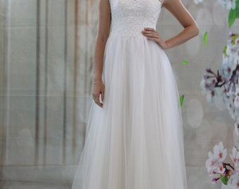 Cute Sheer neck lace applique wedding dress, see though back bridal gown