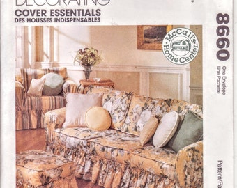 McCalls 8660 Sofa Couch, Arm Chair, Living Decor, Living Room Cover, Pillows Squares, Pillows Round, Ottoman, Slip Covers, Sewing Pattern,