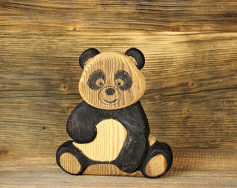 Wooden decorative sitting Panda 7,6""