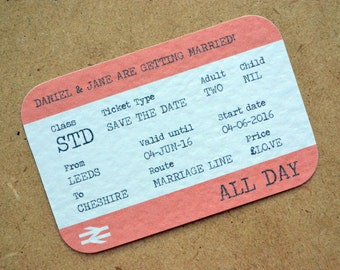 Save the Date - Personalised Destination Wedding Train Ticket A7 Save the Date including C7 Kraft Envelope - Travel, Underground, Tube