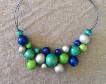 Blues and Greens Wooden Bead Bib Necklace