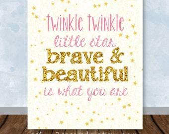 Twinkle Twinkle Nursery Decor, Gold Twinkle Twinkle Little Star Nursery Art, Chalkboard Sign Wall Decor Personalized Digital File