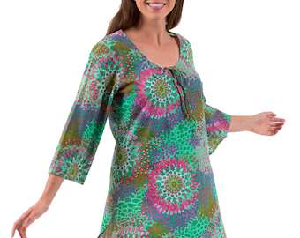 Kaftan Dress or Beach Cover Up  in 100% Cotton – Reef Emerald